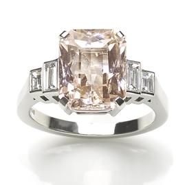 5.74ct Pastel Peach Sapphire and Diamond Ring