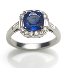 Sri Lankan Sapphire and Diamond Cluster Ring