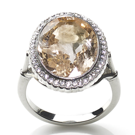 Peach sapphire and Diamond Cluster Ring