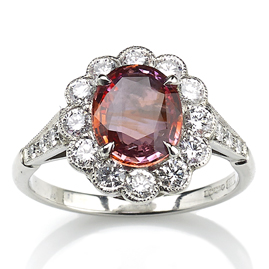 Padparadscha Saphire and Diamond Cluster Ring