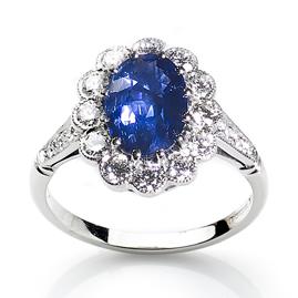 Sri Lankan Sapphire and Diamond Cluster Ring