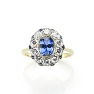 Sapphire and DIamond Fancy Cluster Ring