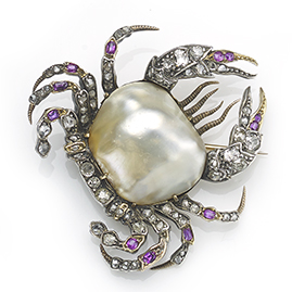 Antique Victorian Pearl, Ruby and Diamond Crab Brooch