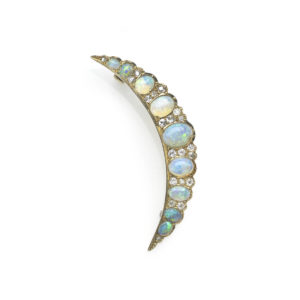 Antique Victorian Opal and Diamond Crescent Brooch October Birthstone