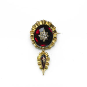 Antique Victorian Cabochon Garnet and Diamond Brooch