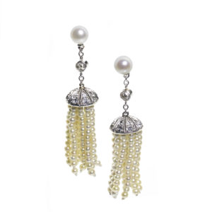 Antique Edwardian Diamond & Pearl Tassel Earrings