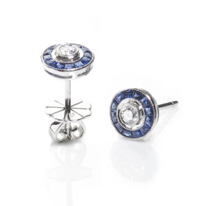 Sapphire and Diamond Target Cluster Earrings