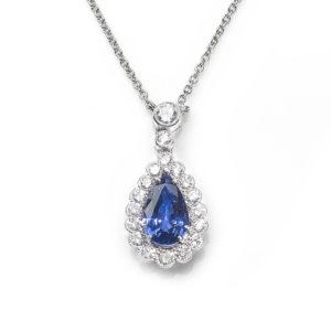 Edwardian Style Sapphire and Diamond Pendant