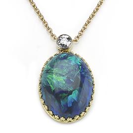 Diamond and Black Opal Pendant
