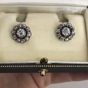 Antique late victorian old cut diamond cluster earrings victorian jewellery discovery