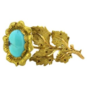 Vintage Buccellati 18ct Yellow Gold and Turquoise Brooch