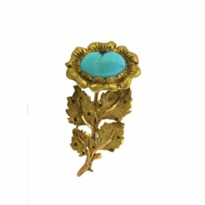 Vintage Buccellati flower brooch Yellow Gold and Turquoise Brooch Jewellery Discovery 18ct