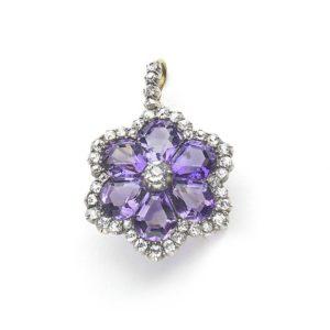 Antique Victorian Amethyst Diamond Flower Pendant Brooch Jewellery Discovery London