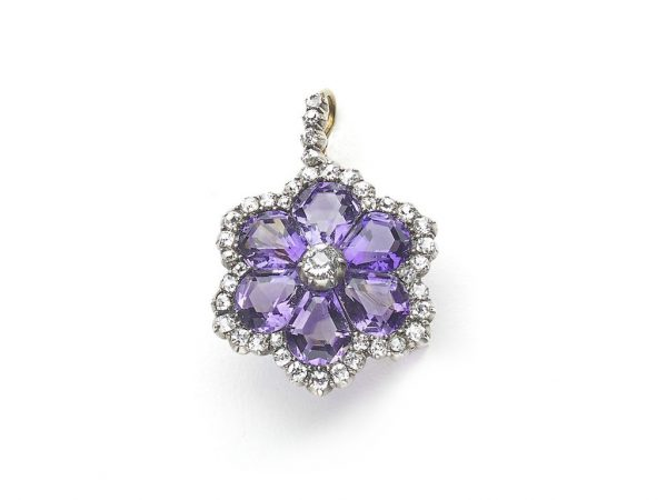 Antique Victorian Amethyst Diamond Flower Pendant Brooch Jewellery Discovery London