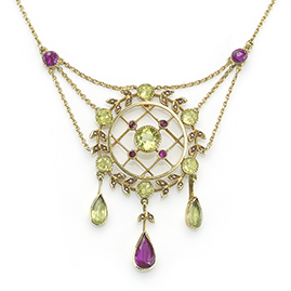 Antique Belle Epoque Ruby and Peridot Pendant
