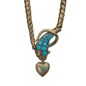 Antique Victorian Turquoise Snake Pendant