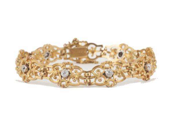 Antique gold diamond Bracelet Fleur de Lys Panels French circa 1900