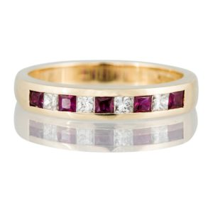 Ruby and Diamond Half Eternity Ring