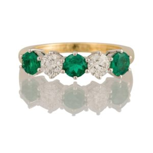 Emerald and Diamond Five Stone Ring May Birthstone