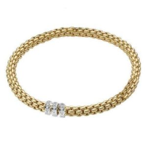 FOPE 18ct Yellow Gold 'Flex'it Solo' Bracelet with Three Diamond-Set Rondels