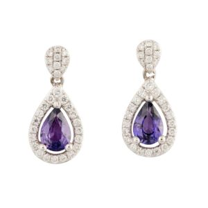 Purple Sapphire and Diamond Drop Earrings