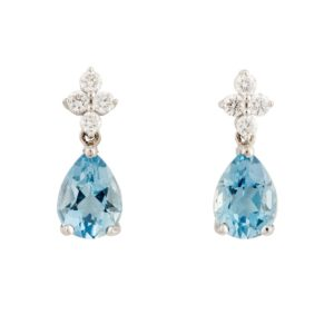 Aquamarine and Diamond Drop Earrings