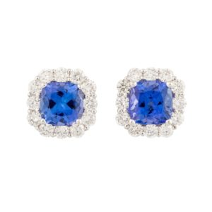 Tanzanite and Diamond Earrings December birthstone square shape