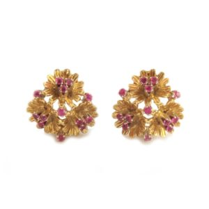 18ct Gold Ruby Clip Earrings