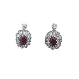 Antique Ruby and Diamond Cluster Earrings