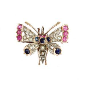 Multi Gem Set Butterfly Brooch