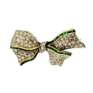 Antique Diamond and Emerald Bow Brooch