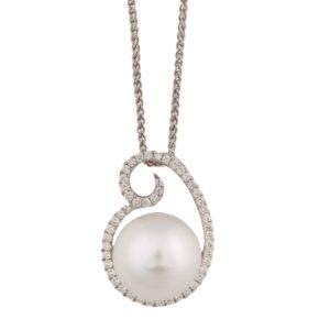South Sea Pearl and Diamond Swirl Pendant