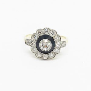 Antique Art Deco Onyx and Diamond Rosette Ring