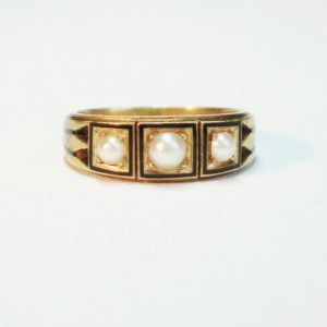 Antique Victorian Pearl and Enamel Ring