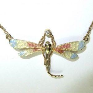 Gold Enamel Dragonfly Pendant