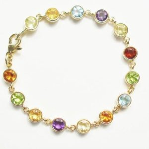 Multi Gem Set Bracelet