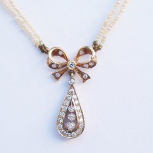 Antique Art Deco Diamond and Pearl Bow Pendant