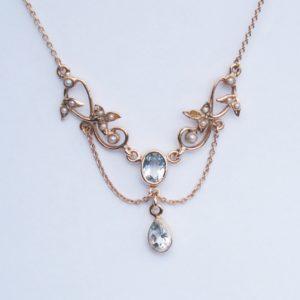Art Nouveau Style Aquamarine and Pearl Pendant