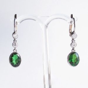 Antique Russian Diopside and Diamond Earrings