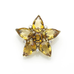 Vintage Citrine and Diamond Star Flower Brooch Pendant