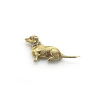 Daschund Gold Brooch