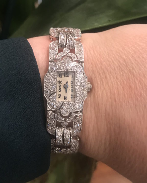 Art Deco diamond cocktail watch Jewellery discovery London Rectangle shape platinum 1920 1930 Watch for her