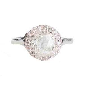 Art Deco Diamond Cluster Ring old cut diamond