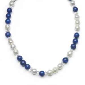 Pearl, Lapis Lazuli Bead and Crystal Disc Necklace