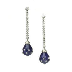 Antique Art Deco Amethyst and Diamond Drop Earrings