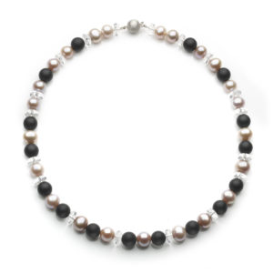 Pearl, Onyx and Crystal Bead Necklace