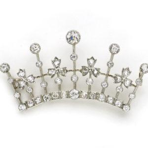 Antique Victorian Diamond Crown Brooch