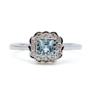 Art Deco Style Aquamarine and Diamond Cluster Ring