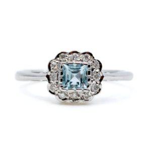 Art Deco Style Aquamarine and Diamond Cluster Ring