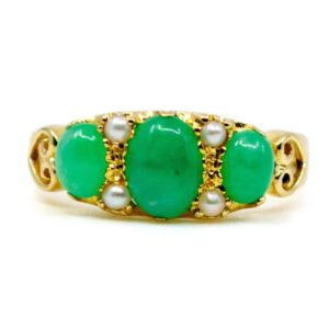 Victorian Style Jade and Pearl Gold Ring